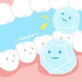 Dente sensível com um gelo Foto de Stock Royalty Free