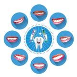 Dente sorridente del fumetto con l'insieme dei sorrisi Immagini Stock
