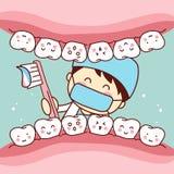 Dente sveglio della spazzola del dentista del fumetto Fotografia Stock