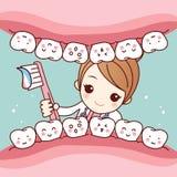 Dente sveglio della spazzola del dentista del fumetto Fotografia Stock Libera da Diritti