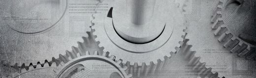 Dented cogs wheels banner with computer technologic circuits. Dented wheels or cogs banner overlayed by digital computer circuits and programming languages and Royalty Free Stock Photography