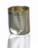 Dented tin can. Close up of dented tin can  on white Stock Photo