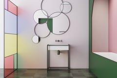 Dentelez l'intérieur de salle de bains en verre souillé, évier de baquet Photos stock
