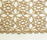 Dentelle beige de crochet Photographie stock