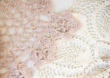Dentelle rose et blanche de vintage image stock