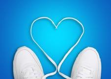 Dentelles de chaussure de forme de coeur Image libre de droits