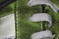 Dentelles du macro de chaussure Photographie stock
