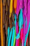 Dentelles multicolores de chaussure et de botte Images libres de droits