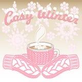 Dentelli i guanti tricottati e la tazza del cacao con tricotta la manica royalty illustrazione gratis