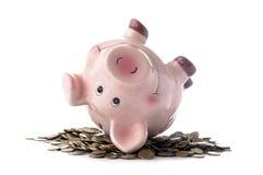 Dentelli la banca piggy e le monete Fotografia Stock Libera da Diritti