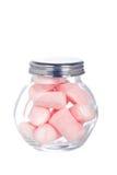 Dentelli le caramelle gommosa e molle nel vaso di vetro Immagini Stock