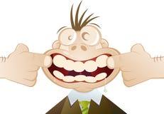 Dentes abertos da boca dos desenhos animados Imagens de Stock