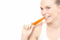 Dentes brancos, comer saudável Fotos de Stock Royalty Free