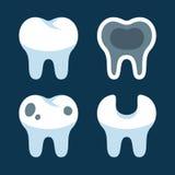 Dentes com os ícones dentais diferentes dos problemas ajustados Fotografia de Stock