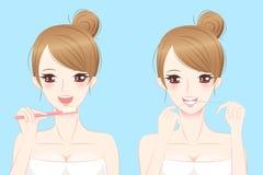 Dentes da escova da mulher da beleza dos desenhos animados Foto de Stock Royalty Free