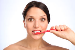 Dentes da limpeza da higiene oral para a mulher bonita Foto de Stock Royalty Free