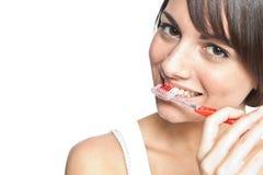 Dentes de escovadela Imagem de Stock