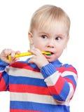 Dentes de escovadela da criança Fotos de Stock
