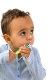 Dentes de escovadela da criança africana Fotografia de Stock Royalty Free