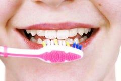 Dentes de escovadela da mulher nova Imagem de Stock