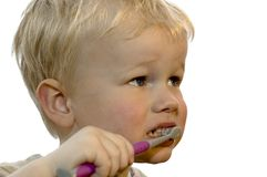 Dentes de escovadela do miúdo Fotos de Stock Royalty Free