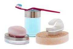 Dentes de escovadela e higiene pessoal Fotografia de Stock Royalty Free