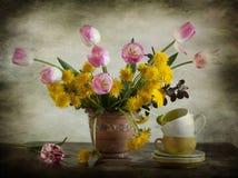Dentes-de-leão e tulips Fotos de Stock Royalty Free