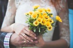 Dentes-de-leão e vestido de casamento branco Imagem de Stock