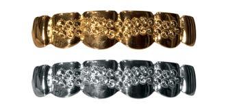 Dentes do ouro e da prata fotos de stock royalty free