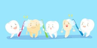 Dentes dos desenhos animados que guardam a escova de dentes Fotografia de Stock