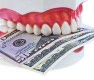 Dentes e dólar fotos de stock royalty free