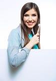 Dentes limpos da mulher, no branco Fotos de Stock