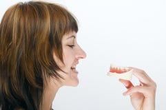 Denti artificiali e sani Fotografia Stock Libera da Diritti
