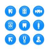 Denti, cure odontoiatriche, stomatologia, icone del dentista Immagini Stock Libere da Diritti