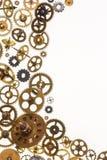Denti del movimento a orologeria e parti vecchi dell'orologio - spazio per testo Fotografia Stock