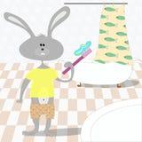 Denti delle spazzole di coniglio nel bagno Immagine Stock Libera da Diritti