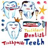 Denti di odontoiatria dell'insieme dell'acquerello dei bambini illustrazione di stock