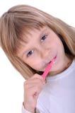 Denti di pulizia del bambino Fotografie Stock