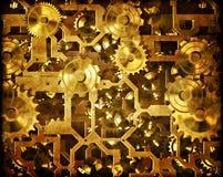 Denti e macchinario dello steampunk del movimento a orologeria Immagini Stock Libere da Diritti