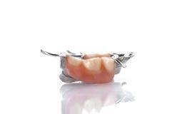 Denti falsi su fondo bianco Fotografia Stock