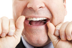 Denti Flossing Fotografia Stock Libera da Diritti