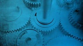 Denti industriali ammaccati degli ingranaggi lucidi d'acciaio di lerciume e circuiti digitali technologic immagine stock libera da diritti