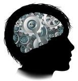 Denti a macchina Brain Child Concept delle attrezzature di lavoro Fotografia Stock