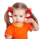 Denti puliti della spazzola della ragazza del bambino. Fotografia Stock