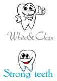 Denti sorridenti felici del fumetto per il logo o l'emblema Immagini Stock