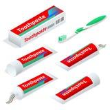 Dentifrice isométrique de pâte ou de gel utilisé avec une brosse à dents comme accessoire pour nettoyer et maintenir l'esthétique illustration de vecteur