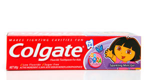Dentifricio in pasta dei bambini della Colgate Fotografia Stock
