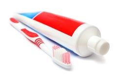 dentifricio in pasta del dente della spazzola fotografie stock