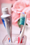 Dentifricio in pasta e toothbrush Immagine Stock