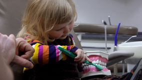 Dentis enseigne une fille à se brosser les dents correctement banque de vidéos